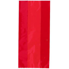30 Ruby Red Cellophane Gift Bags - Plastic Loot Party Wedding Childrens Kids
