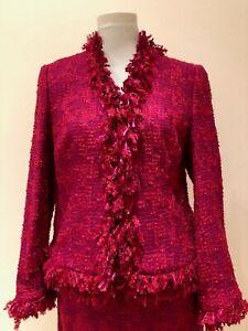 ** ESCADA ** Luxus Event Kostüm Gr.38 Bouclé Lurex Fransen Pink