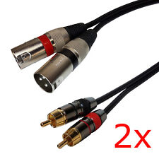 2 Pack - 3ft Dual XLR Male to 2-RCA Male Stereo Plug Shielded Patch Cable Cord