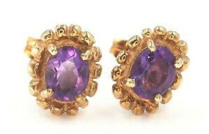 Amethyst Stud Earrings 9ct Yellow Gold Pierced Ears Fine Women's Jewellery