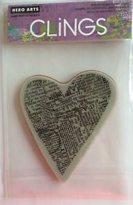 "Hero Arts Clings ""Newspaper Heart"" Rubber Stamp * New*"