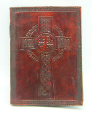 "Leather Embossed Celtic Cross Journal w/ Leather Wrap Cord, 5""x7"" Handmade Paper"