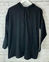 EILEEN FISHER Womens' Black Hooded Pullover Sweatshirt Size Petite Large