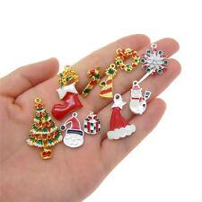 10 pcs Christmas Series Mix Lot Enamel Metal Charms Pendants Jewelry Findings