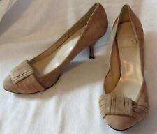 zara basic collection nude beige suede pumps low heels size 37 (6.5)