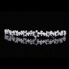 Floral Bridal Headpiece Red Crystal Rhinestone Prom Wedding Tiara Headband V700