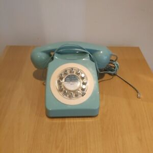 Wild & Wolf 746 Retro Repro1960's Blue Push Button Corded Telephone  - Faulty