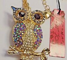 New~ Betsey Johnson Rhinestone Owl Necklace  & free gift