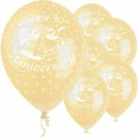 """5 x Happy 30th Anniversary 12"""" Pearlised Latex Balloons Pearl Party Decoration"""