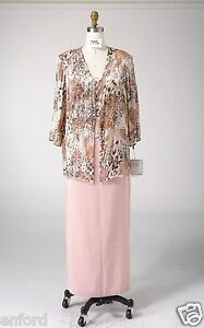 Size 16 Mother of the Bride Silk Print Beads Cocktail Formal Party 3 Pcs Suit.