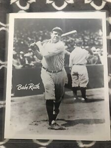 New York Yankees Babe Ruth 8 x 10 Black and White Photo in Top Loader