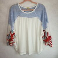Kori America Floral Shirt Bell Sleeves Blue White Red Womens Small Baby Doll Top