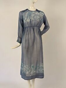 BEAUTIFUL EDWARDIAN TEENS FLORAL PRINT SHEER BLUE MUSLIN DRESS