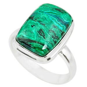 925 Silver 9.63cts Natural Green Azurite Malachite Solitaire Ring Size 9 T21490