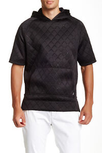 Zanerobe MVP Short Sleeve Hooded Sweatshirt Quilted Black NWT Size S SMALL