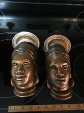 A Pair Of Stunning Vintage Ceramic ATLANTIC MOLD AFRICAN BEAUTIFUL Queens Bronze