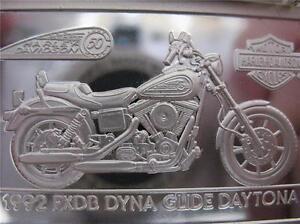 1.4-OZ.999 PURE SILVER 1992 GLIDE FXDB HARLEY DAVIDSON 90TH ANNIV BAR INGOT+GOLD