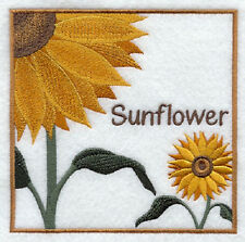 SUNFLOWER BEAUTY SET OF 2 BATH HAND TOWEL EMBROIDERED BY LAURA