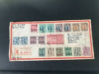 Postal cover from China to Australia 1948 multi franking stamps different chops