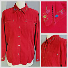 Liz Claiborne red needlecord corduroy western cowgirl embroidered shirt ~ Large