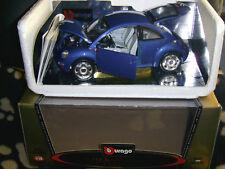 1/18 BURAGO CLASSIC - 1998 BLUE VW VOLKSWAGEN NEW BEETLE - DIECAST MODEL CAR