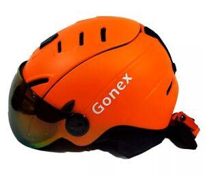 Gonex Ski Snowboard ASTM Helmet with Detachable Goggles, Shockproof Orange