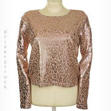 JENNIFER LOPEZ New! X-LARGE Jennifer Pink LEOPARD Print TOP Cropped Knit SPARKLE