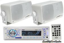 "Pyle Marine AM/FM USB/SD iPod AUX Receiver Stereo + 2 x 3.5"" 200W White Speakers"