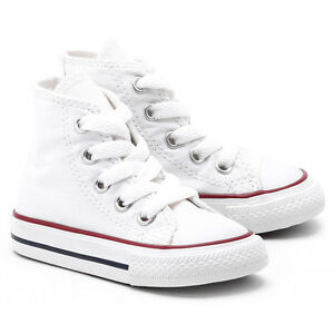 Converse All Star Chuck HI 7J253 Canvas Optical White Kids Baby Toddler Shoes
