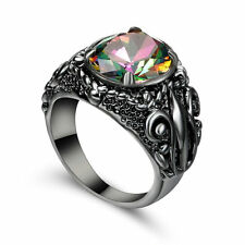 Size 8 Rainbow Topaz Crystal Ring Black Rhodium Plated Engagement Wedding Gift