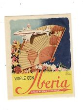 VINTAGE AIRLINE LUGGAGE DECAL: IBERIA AIRLINES