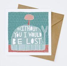 'Lost' Thank You Appreciation Love Romance Random Card Blank inside 14x14cm