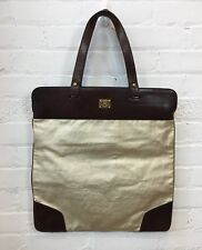 Burberry Brushed Gold Canvas Handbag Tote Bag Large