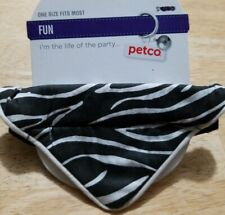 NEW PETCO CAT DOG BLACK ANIMAL STRIPE NECK WRAP KERCHIEF BANDANA HOOK LOOP CLOSE