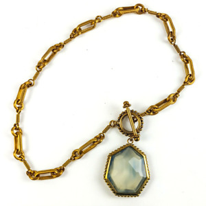 """Stephen Dweck Necklace, Signed. Faceted Agate Pendant, BronzeToggle Chian 17"""""""