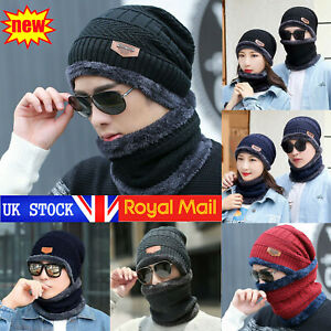 Men's Beanie Hat Scarf Set Neck Cover Winter Warm Fleece Knitted Thick Ski Cap