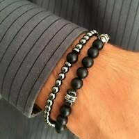 2Pcs Natural Stone Copper Bead Bracelet Men Matte Lava Volcanic Jewelry Gifts
