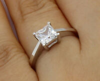 1Ct 14K White Gold Square Princess Cut Solitaire Engagement Propose Promise Ring