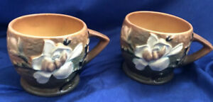 """ROSEVILLE POTTERY Set Of 2 Terracotta Brown Magnolia 3-3"""" Cups/ Mugs Rare Find"""
