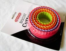 NEW 6 COLOURFUL BISCUIT COOKIE SCONE CUTTERS ROUND CRINKLE EDGE APOLLO