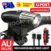 Waterproof Rechargeable LED Bike Bicycle Light USB Cycle Front Back Headlight