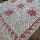 Excellent Quilting 1860 Antique Red Stars on White QUILT PC 22x24 Prim Christmas