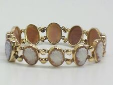 Vintage 14KT Fine Yellow Gold Carved Shell Cameo Bracelet