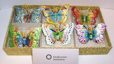 "Cloisonné  3"" Wide Lot Of 6  Butterfly Ornaments From Smithsonian Store"