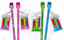 24 Girls Pencils with Crayons Party Bag Filler Toys Jungle Wedding Kids Favours
