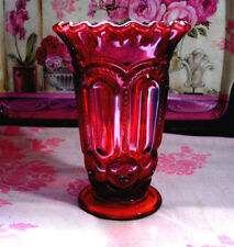 Vintage L. E. Smith Glass Amberina Moon & Star Crimped Ruffled Top Vase