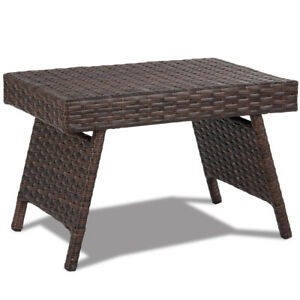 Folding Rattan Side Coffee Table Patio Square Garden Outdoor Furniture Brown