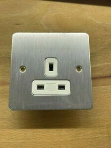 1 x MK Edge brushed steel single socket 13A DP Unswitched Socket. K14780BSSW