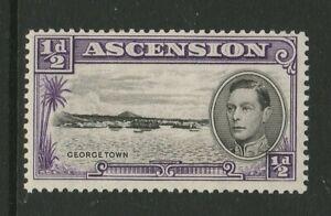 Ascension 1938 ½d Violet with Re-entry CW 1a Mint.