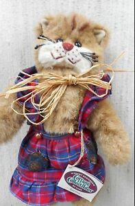 GANZ COTTAGE COLLECTIBLES--KATRINA STUFFED CAT (RED PLAID)